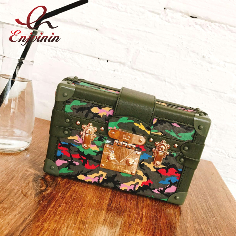 New fashion design camouflage star pattern box shape day clutches ladies chain shoulder bag handbag crossbody mini messenger bag<br>