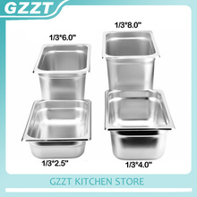 6pcs/carton 201# Stainless Steel 1/3 Gastronorm Pan American Style Food Containers(China)
