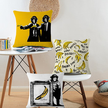 Funny Monkey Banana Pillow Case Cushion Cover Black Yellow Cartoon Design Home Decor Sofa Car Square Pillow Cover(China)