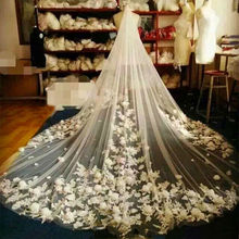 Cathedral 3 Meters Long Wedding Veils Couture Bridal Veil With Handmade Flower Cheap Wedding Accessories Voile Mariage