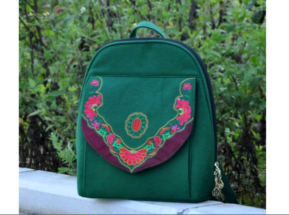 Hot Ladys backpack!Original National style embroidery embroidered Backpack features ethnic Peony canvas double-shoulder bag<br><br>Aliexpress