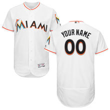 MLB Men's Miami Marlins Baseball Home White Flex Base Authentic Collection Custom Jersey(China)