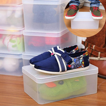 Strong Firm Plastic Boxes With Lid Organizer Crystal Transparent Storage Shoes Box Storage Rectangle Organizer Home Modern Case(China)