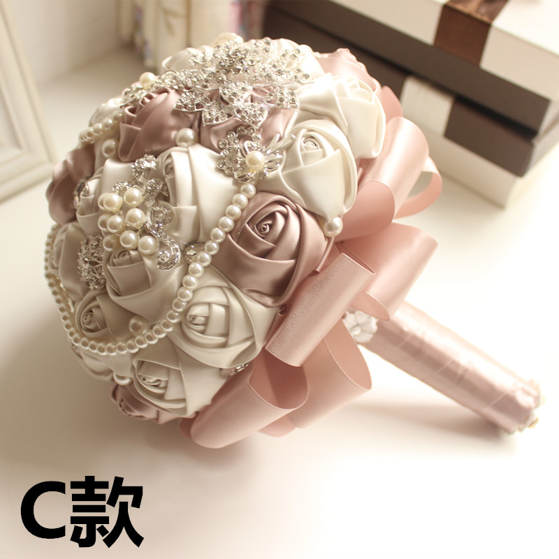 Bridal Bouquets Diameter 22cm EMS ship Wedding flower Gorgeous Beaded Crystal 3 options Sapphire Rose Bridesmaid Pearl new(China (Mainland))