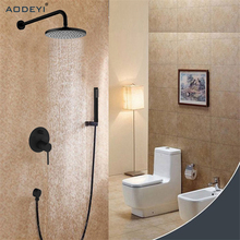2017 New Luxury Brass Bathroom rain shower faucets Head shower sets with hand shower&Shower Mixer Valve Black Two Functions(China)