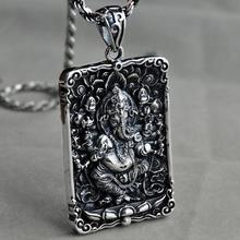 Necklaces & Pendants Real 925 Sterling Silver Pendant For Men Elephant God Tag Geneisha Six Words OM Engraved Buddha Figure