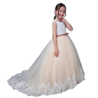 Champagne Beaded Organza Puffy Ball Gown Girls Pageant Dresses Sleeveless First Communion Dresses Girl Prom Dress Flower Girl
