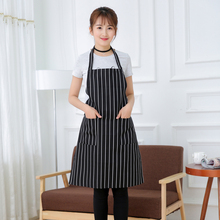 Waterproof Oilproof Stripe Kitchen Apron for Women Men Useful Cooking Apron Grid Adjustable Chef Cloth Accessories with 2 Pocket