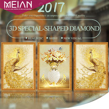 Meian,Special Shaped,Diamond Embroidery,Animal,Peacock,Flower,Full,5D,DIY Diamond Painting,Cross Stitch,3D,Diamond Mosaic,Decor(China)