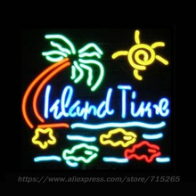 Island Time Neon Sign Fishes Neon Light Sign cool Tree signs Arcade handcraft Glass Tube Neon Lamps Publicidad Neon Light 24x24