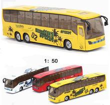 1:50 Scale Pull Back City Bus Models Toy Car Sightseeing Tour Bus Car Model With /Light&Sound Gift Toy Cars Bus Toys(China)