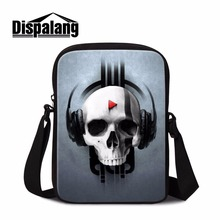Dispalang punk skull print long strap messenger bag cheap woman shoulder bag musical ghost head crossbody bags for teen boys