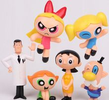 6pcs/lot Cartoon The Powerpuff Girls PVC Action Figures Bubbles Blossom Buttercup Anime Dolls Figurines Kids Toys for Boys Girls