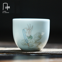 2017 New Style Vivid Jingdezhen China Porcelain Cup For Tea Celadon Ceramic Kong Fu Teacups Art Master Cup kung fu . Christmas(China)