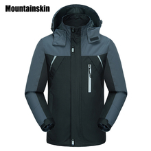 Mountainskin 2017 Spring Jackets Men's Coats 4XL Casual Hooded Mens Windbreaker Windproof Waterproof Brand Male Jackets SA200(China)