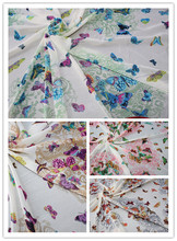150cm width 75D printed chiffon fabric butterfly with flower