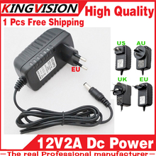 1PC Free 12V2A AC 100V-240V Converter Adapter DC 12V 2A 2000mA Power Supply EU Plug 5.5mm x 2.1-2.5mm for LED CCTV Free shipping(China)