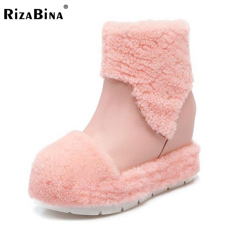 RizaBina Women High Wedges Boots Inside Heel Thick Fur Shoes Women Half Short Snow Boots Winter Botas Women Footwearssize 34-39<br>