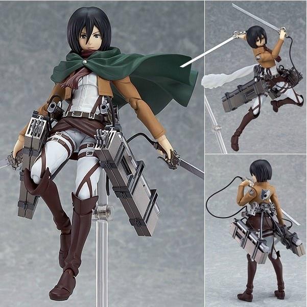 14cm anime attack on Titan Mikasa Ackerman  Figma 203 PVC action Figure Model  Collection Toy Gift shingeki no Kyojin Eren Levi<br>