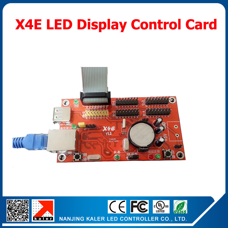 Moving text display control card X4E for single dual and full color indoor outdoor running text led display screen led signboard(China (Mainland))