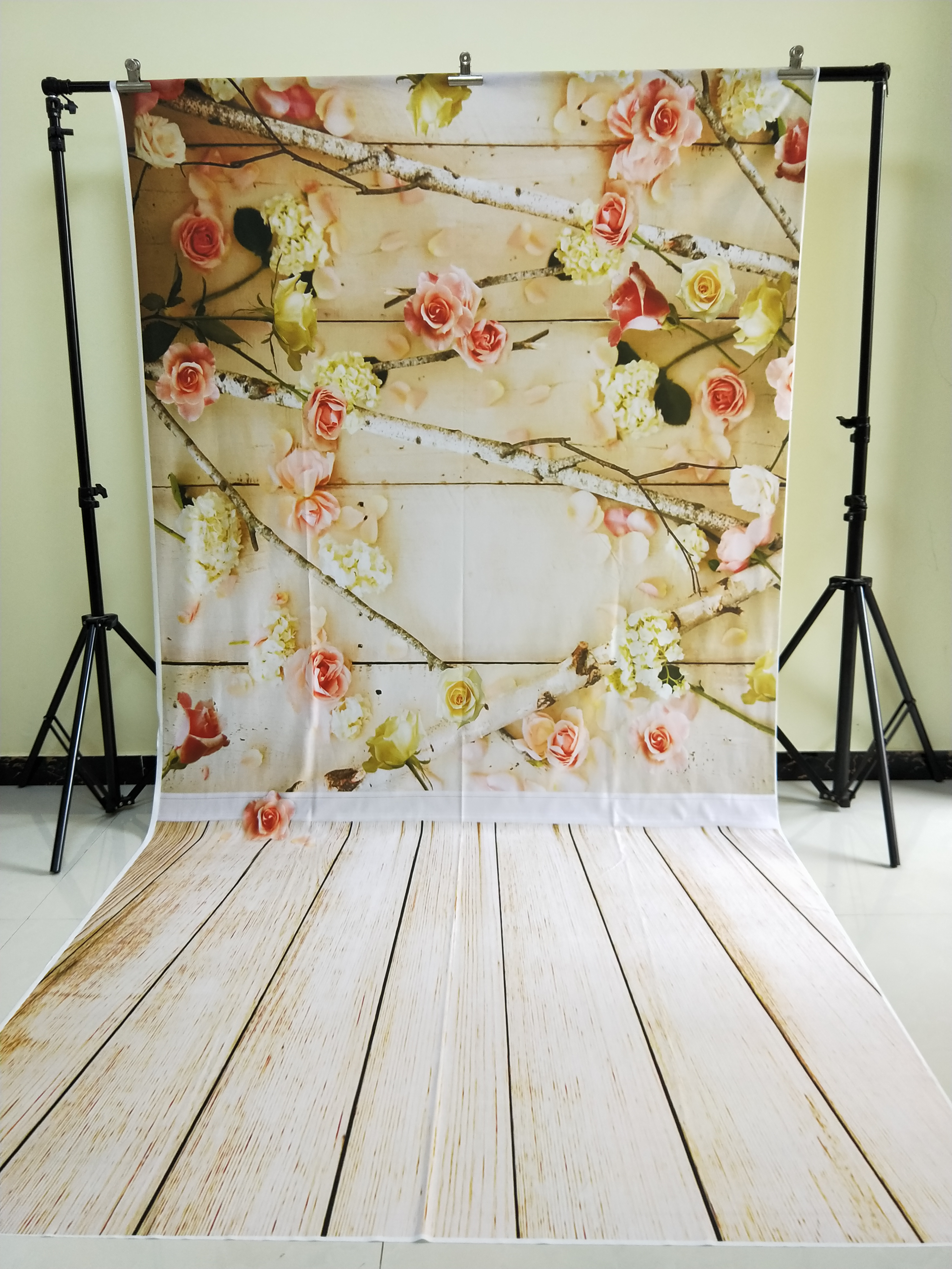 HUAYI 5x10ft Cotton Polyester Wood Floor Flowers Photography Backdrop Washable Photo Studios Baby Props Background KP-336<br>