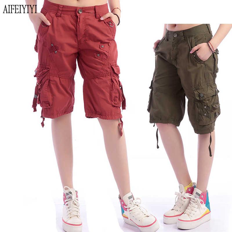 Nouveaux produits a5bb6 00d27 Denim Pantalon Femmes 2019 Army Green Loose Knee Length Multi-Pocket Baggy  Jeans Cargo Short Pants Men/Womens Military Trousers
