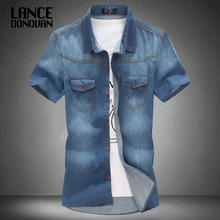 3 color blue summer denim jeans shirt for men short sleeves 2014 summer Korean style fashion washed Slim Man casual GOOD QUALITY(China)