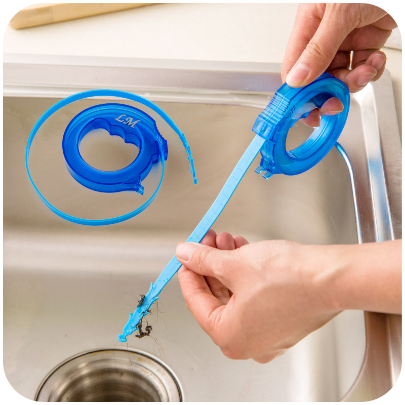 1pc Scalable Through Bathroom Sewer Cleaning Hair Clean Hook Sink Toilet  Clear Blockades Drain Hook