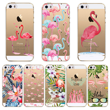 Case for iPhone 5 5s SE 6 6s 7 Flamingo Cute Animals Birds Transparent Soft TPU Silicone Phone Back Cover Fundas Capa Coque