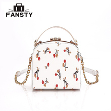 Cute Retro Vintage Women Pu Leather Camera Bag Lady Chain Messenger Bag Metal Frame Cherry Printing Female Small Party Handbag