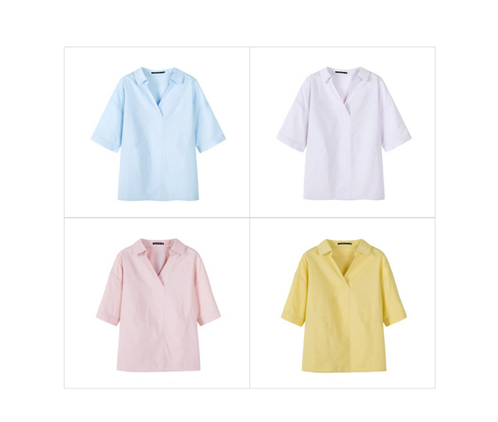 SEMIR Short sleeve white shirt women summer 19 new lapel V-neck shirt simple solid color students fresh relaxed blouse 14