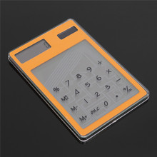 8 Digit Mini Transparent Solar Calculator LCD Solar Powered Touch Screen Electronic Scientific Calculator with Calculating Tool