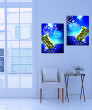 Music Art 2 Panels Modern painting wall decoration saxophone instrument Blue Paintings Pictures Decoration On Canvas Living Room