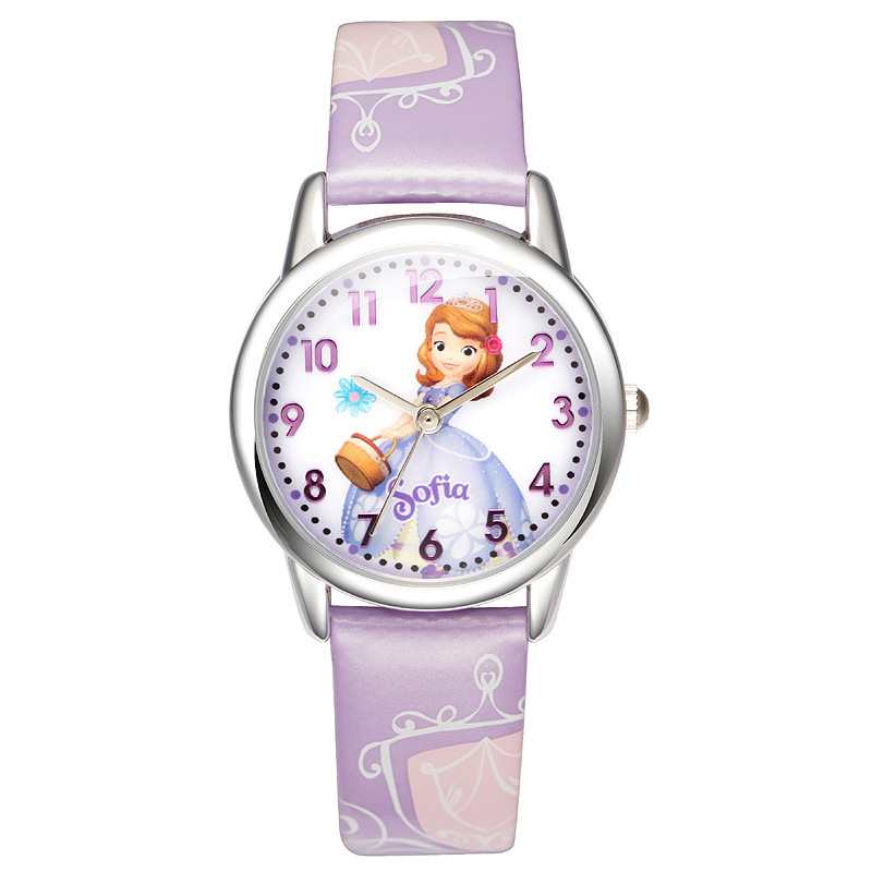 cartoon Disney brand childrens wrist watch Girls waterproof quartz watches Leather kids watch relogio girl clocks<br><br>Aliexpress