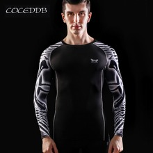 Muscle Men Compression Tight Skin Shirt Long Sleeves 3D Prints MMA Rashguard Fitness Base Layer Weight Lifting Male Tops Wear(China)