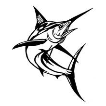 14*16.5CM Marlin Fish Car Styling Decorative Stickers Fashion Classic Animal Window Decals Black/Sliver C6-0613