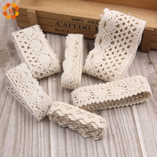 New 4M/Lot Beige Color 5 Size Handmade Patchwork Cotton Material Lace Ribbon For Home DIY Sewing Wedding Crafts Decoration(China)