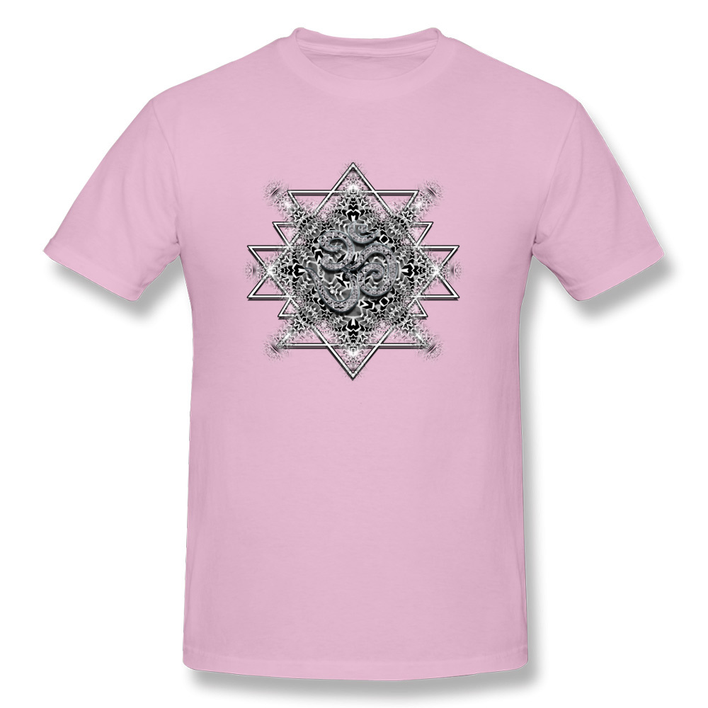 T Shirt Clothing Shirt OM Tribal Geometry VALENTINE DAY Short Sleeve 100% Cotton Round Neck Men T Shirts Printed On Retro OM Tribal Geometry pink