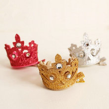 Great quality Cute princess Shiny Crown hair clip kids girl birthday partty Hairpins Hair toddlers accessories headwear J30