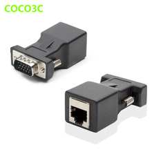 15pin VGA Male to RJ-45 Female Connector Card VGA RGB HDB Extender to LAN CAT5 CAT6 RJ45 Network Ethernet Cable Adapter(China)