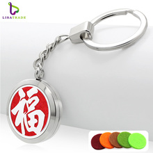 Hot sale round silver stainless steel perfume metal keychain holder fashion brand trendy fragrance round woman keychain holder(China)