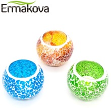 ERMAKOVA 6.5cm Handmade Glass Mosaic Candle Holder European Candlestick Tea Candle Holder Home Candlelight Dinner Cafe Decor(China)
