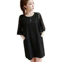 Make spot Spring, summer, the new lace stitching loose thin chiffon dress