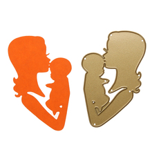 Mother Kiss Baby Metal Cutting Dies Stencils DIY Scrapbooking Photo Album Christmas Decoration Craft Embossing Card Cutter(China)