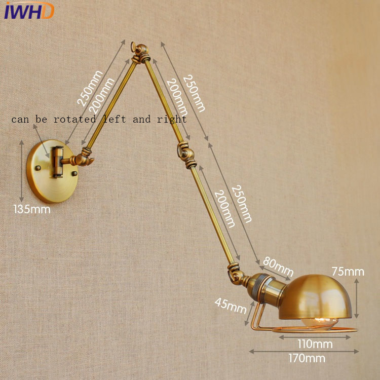 loft retro industrial iron wall lamp led with edison bulb e27 long arm wall lights for cafe hallway bedroom living room bar cafe us730