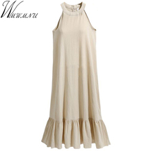 Buy 2018 new summer Womens Elegant Wedding Party Sexy chiffon Halter Neck Sleeveless plus size 4XL casual loose long Dress