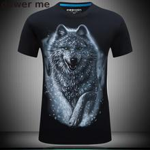 3D T Shirt Animals Men's T-shirts With Short SleevesO-Neck 2016 Funny Angel Wing Wolf Print Tee Shirt Casual