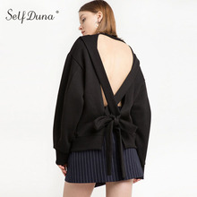 Self Duna 2017 Autumn Winter Female Black Hoobie Backless Bow Long Sleeve As Picture Straps Loose Sexy Women Sweatshirt Top(China)