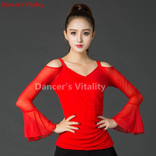Red Elegant  Long sleeve V collar sexy Latin Dance clothes Top for women/female/Lady Ballroom Costume Practice Dress S-XXL