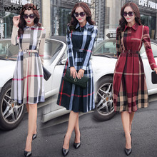 Buy WOHOLL big pendulum Plaid long sleeved dress, belt Office Autumn Women's Dress Vintage Elegant A-line Knee Length Dresses for $22.08 in AliExpress store